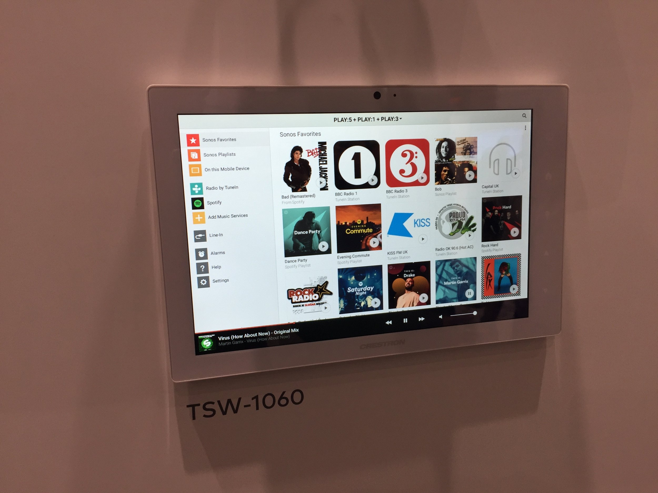 Crestron - Sonos app built natively into touch panels