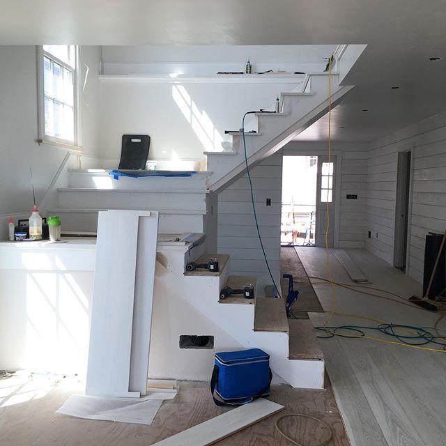 Stair tread and hardwood floor install #progresspic #harborfrontproject