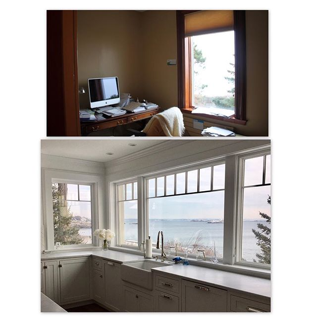 It's hard to believe this is the same space.  In this renovation we removed a tiny, dark office and expanded the kitchen into the space.  We added windows that wrap around the corner to take advantage of the views up the coastline.  #renovation #kitchendesign #beforeandafter #niceplacetododishes