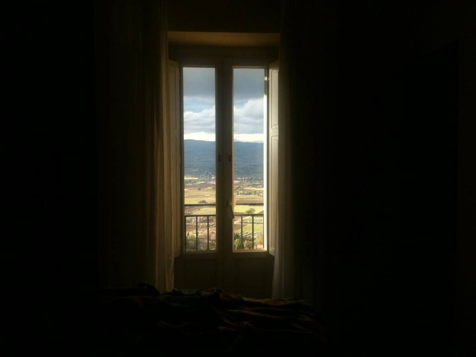 view from my nun cell overlooking the Umbrian mountains.