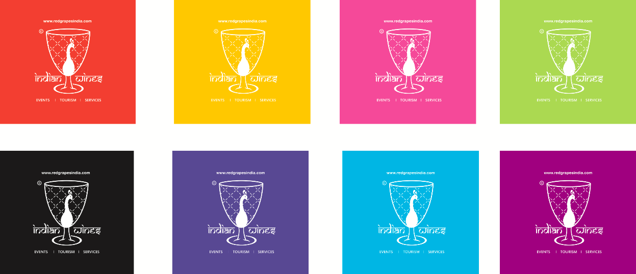 Indian wines multi color logo by Red Grapes