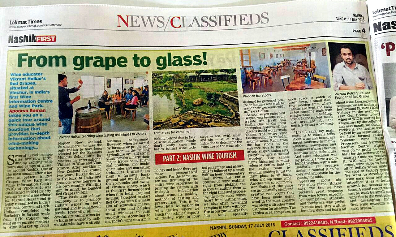 Article by Lokmat times news paper on Wine Information Center by Red Grapes