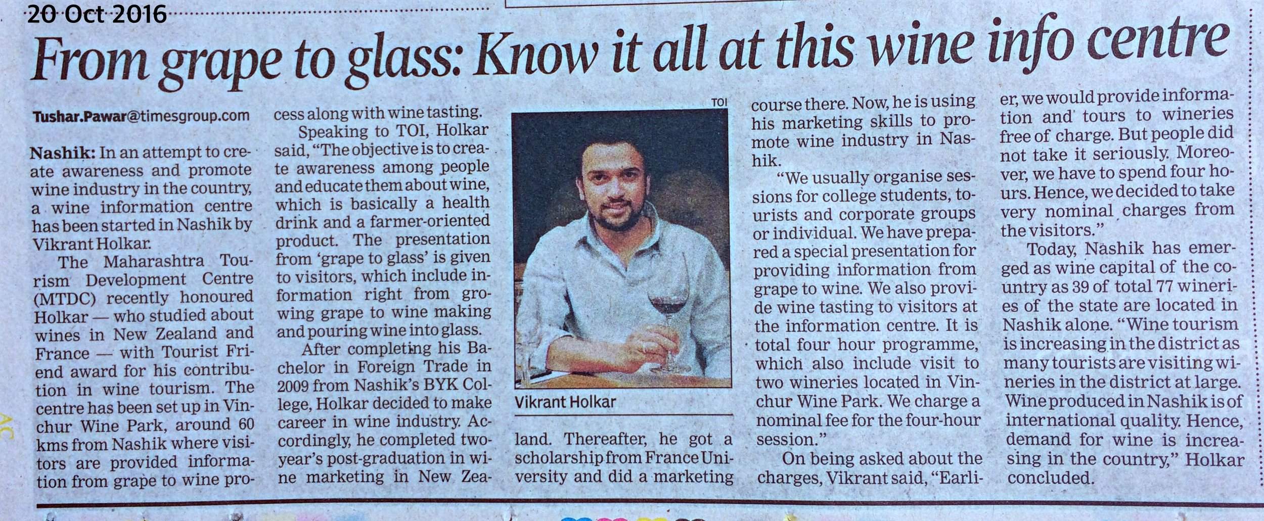 Times of India news on Wine Information Center by Red Grapes at Vinchur wine park