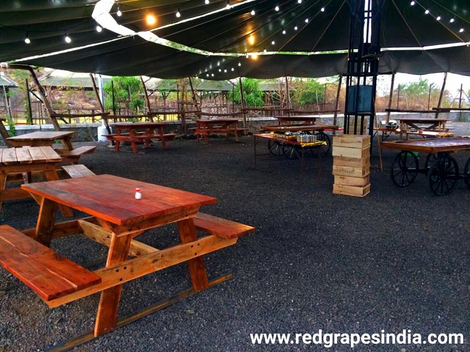 Food hut at Wine information center by red grapes at wine park nashik