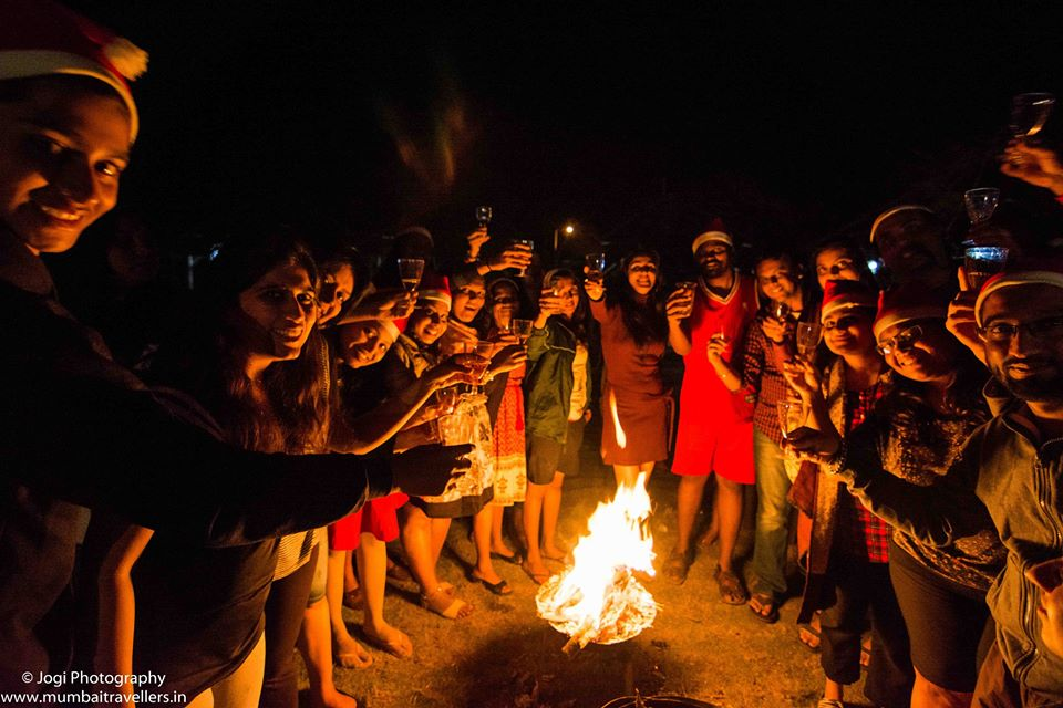 Bon fire / Camp fire for Christmas event 2016 at Wine Information Center by Red Grapes at Wine park, Nashik, Maharashtra, India.