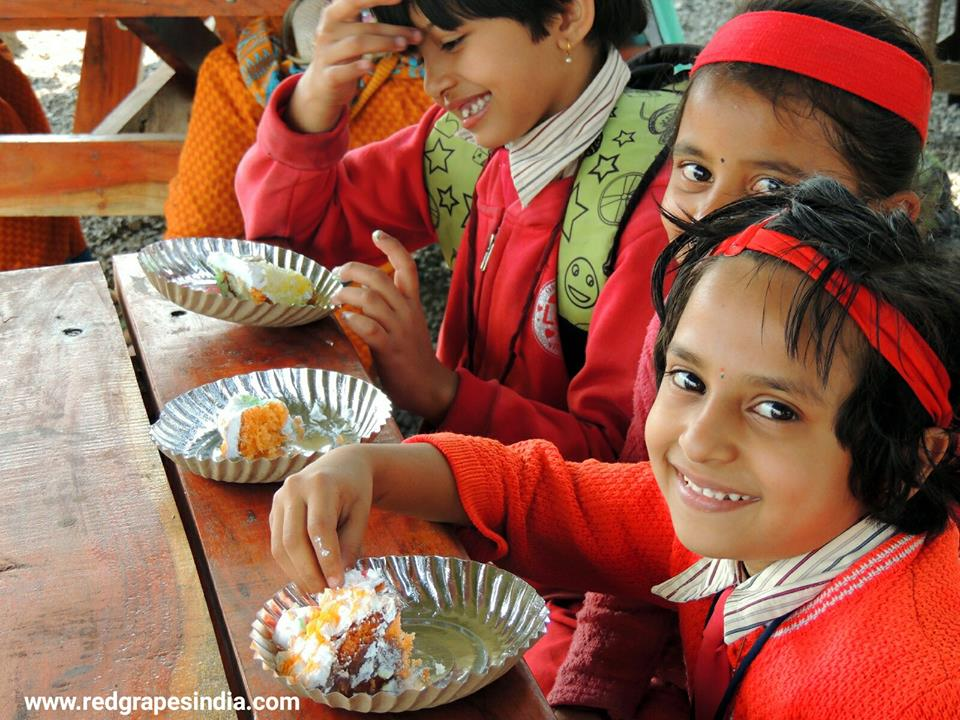 Cute smiles of kids on 26th Jan Republic day celebration at Wine information center by Red Grapes at Wine park, Vinchur, Nashik, Maharashtra, India