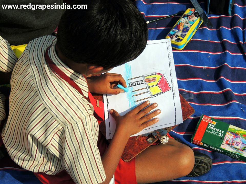 Drawing on 26th Jan Republic day celebration at Wine information center by Red Grapes at Wine park, Vinchur, Nashik, Maharashtra, India
