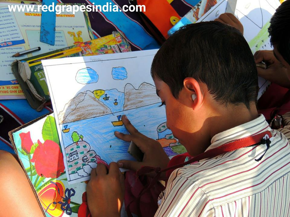 Drawing competition for kids on 26th Jan Republic day celebration at Wine information center by Red Grapes at Wine park, Vinchur, Nashik, Maharashtra, India