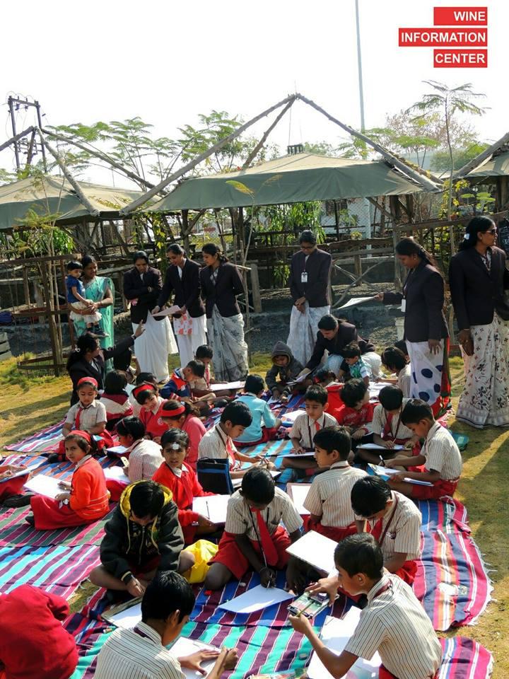 groups of kids on 26th Jan Republic day celebration at Wine information center by Red Grapes at Wine park, Vinchur, Nashik, Maharashtra, India