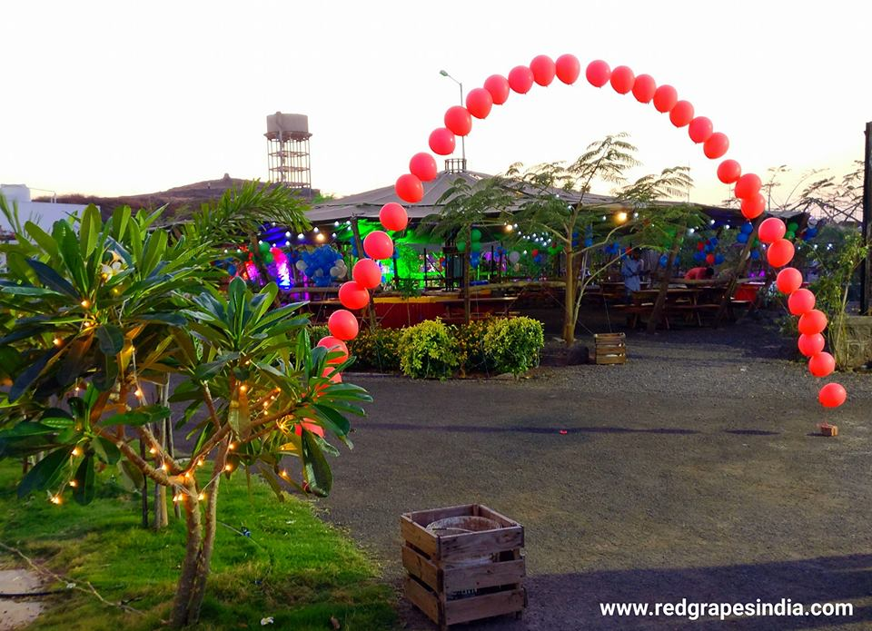 Wine information center is a loved venue for birthday celebration in Nashik, flying balloon entrance