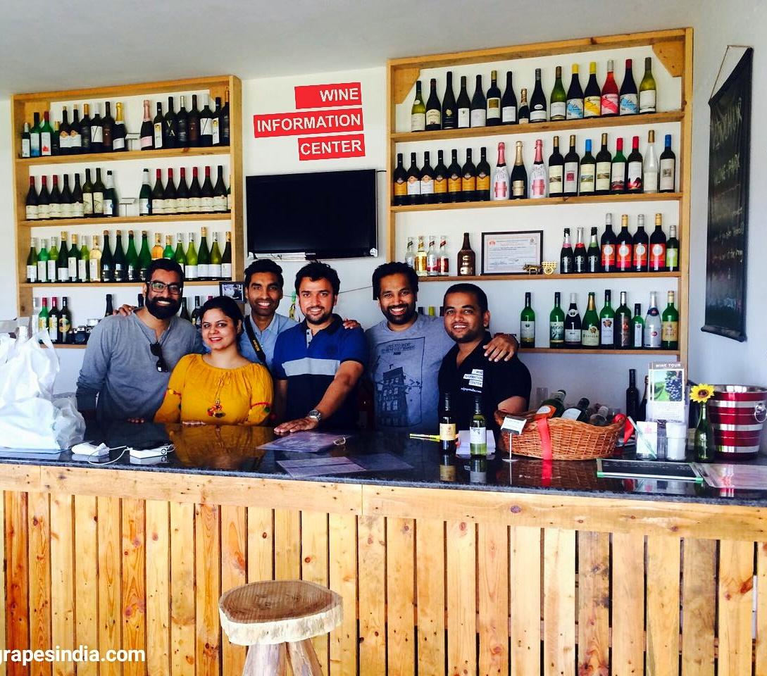 Wine store at wine information center by red grapes at wine park, Nashik, Maharashtra, India
