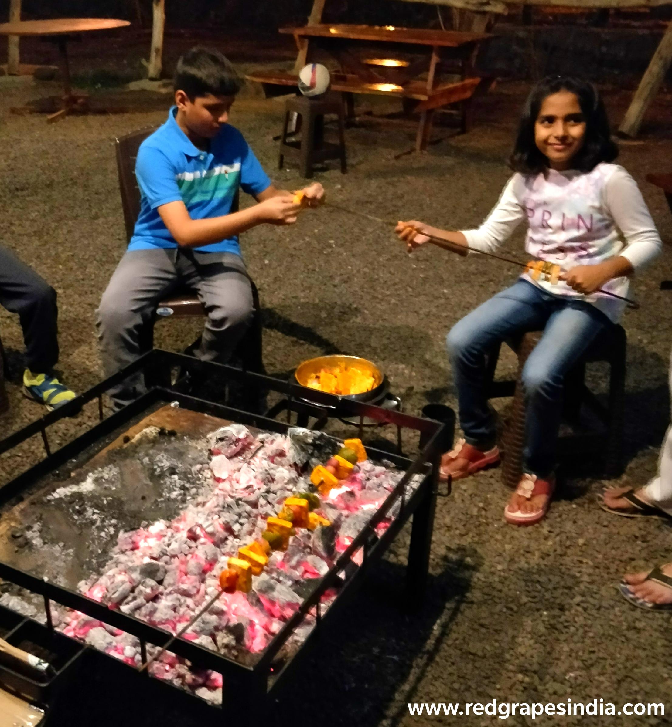 Kids enjoying BBQ, barbeque at wine information center at wine park