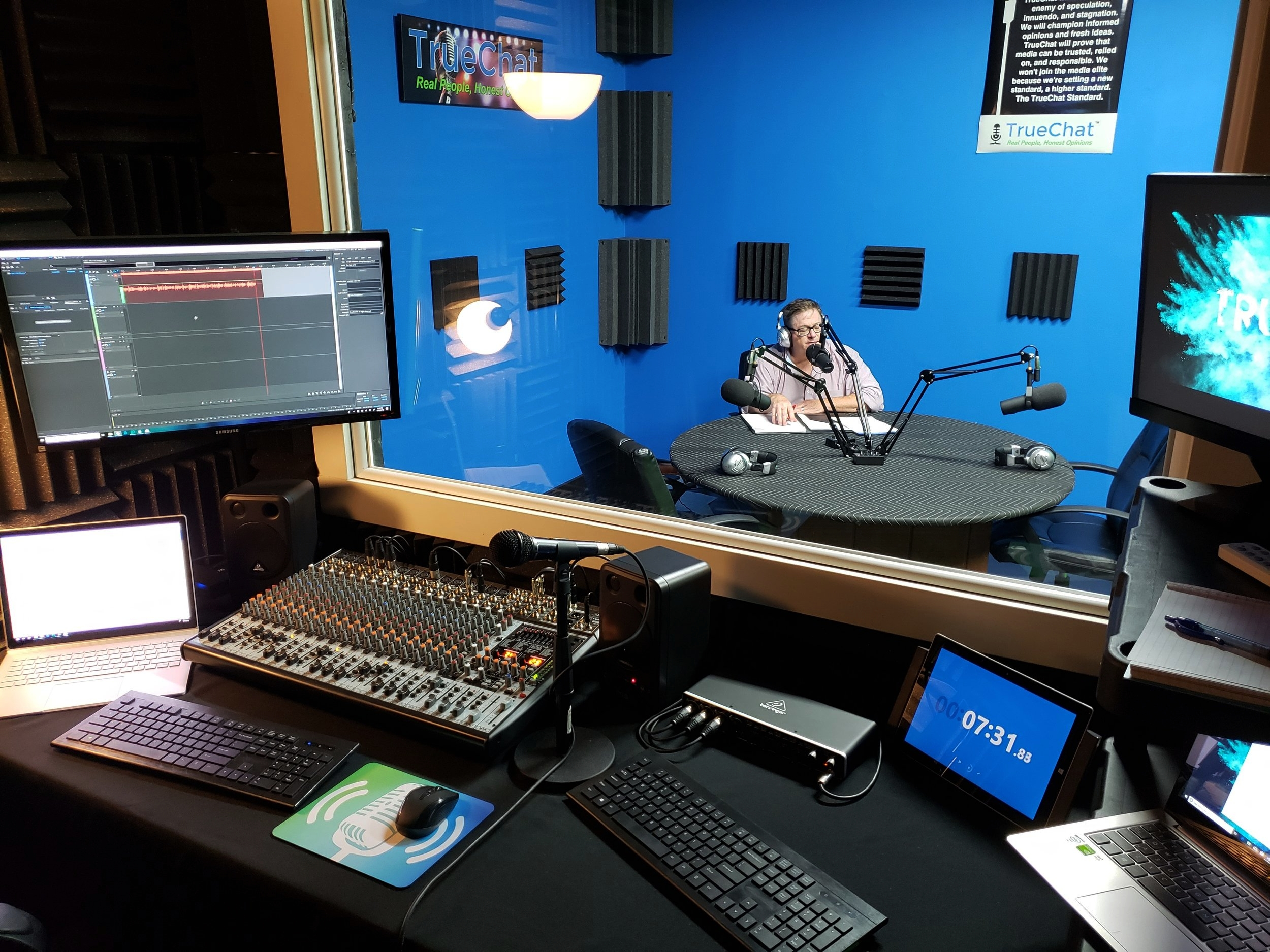 Jon Umstead, host of Business is ART, on a show with a call-in guest.