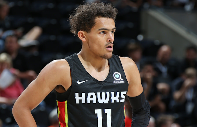 Trae Young  during the 2018 NBA Las Vegas Summer League. Young used the preseason to polish his game and grow into an elite rookie guard.  Photo via Complex.com