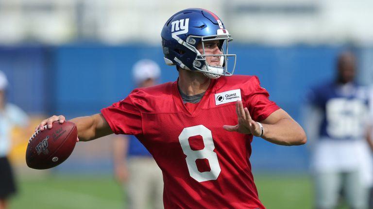 Daniel Jones  at the 2019 New York Giants team camp.  Photo via Newsday.com
