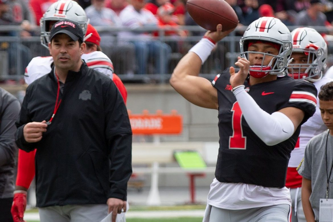 New Ohio State head coach  Ryan Day  and Georgia transfer  Justin Fields  at the 2019 Ohio State Buckeyes Spring Game in Columbus.  Photo via The O-Zone