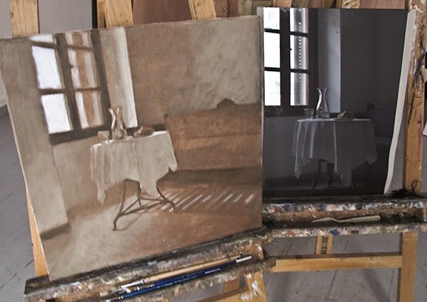 Both painting and black glass side by side.