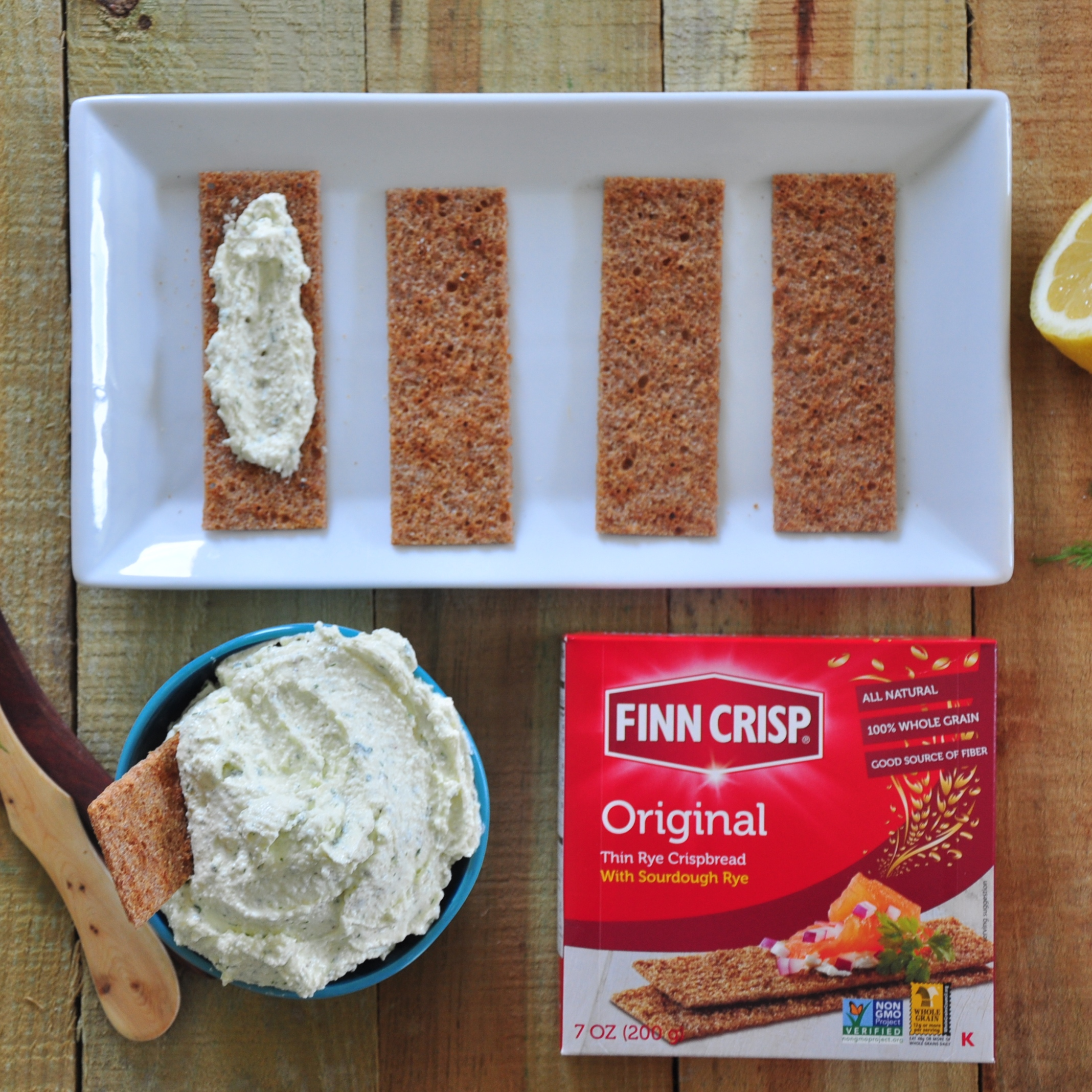 The Finn Crisp rye crackers are the perfect pairing with this delicious cheese spread.