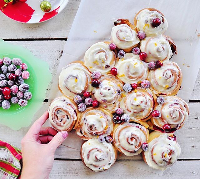 Sunday baking project! Cranberry Christmas tree rolls...🎄🥰