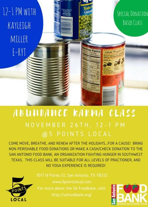 All donations will benefit the San Antonio food bank!