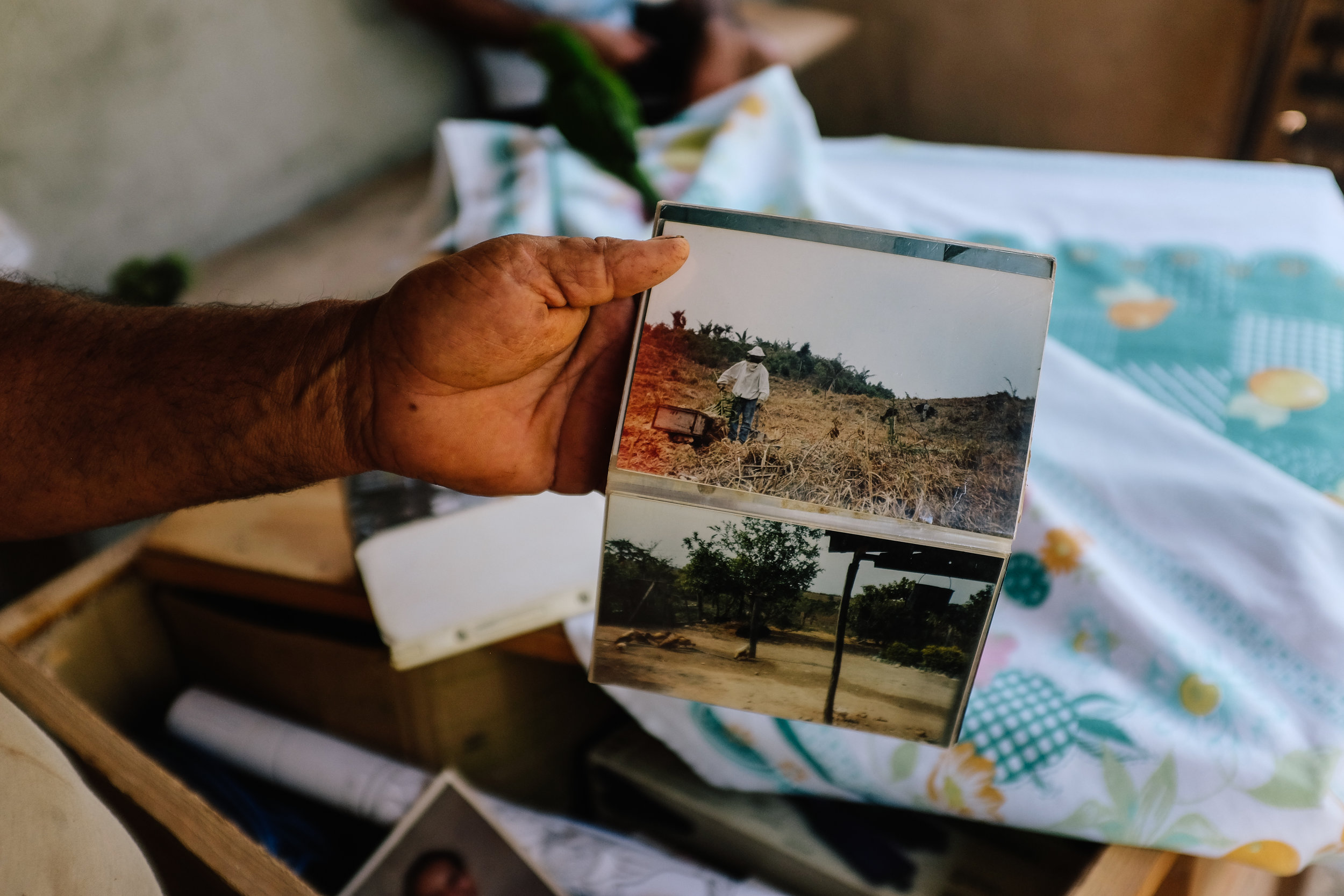 Valdir, a farmer that lives in an agrarian reform settlement in Nova Canaã, shows images from when his family moved to their property.