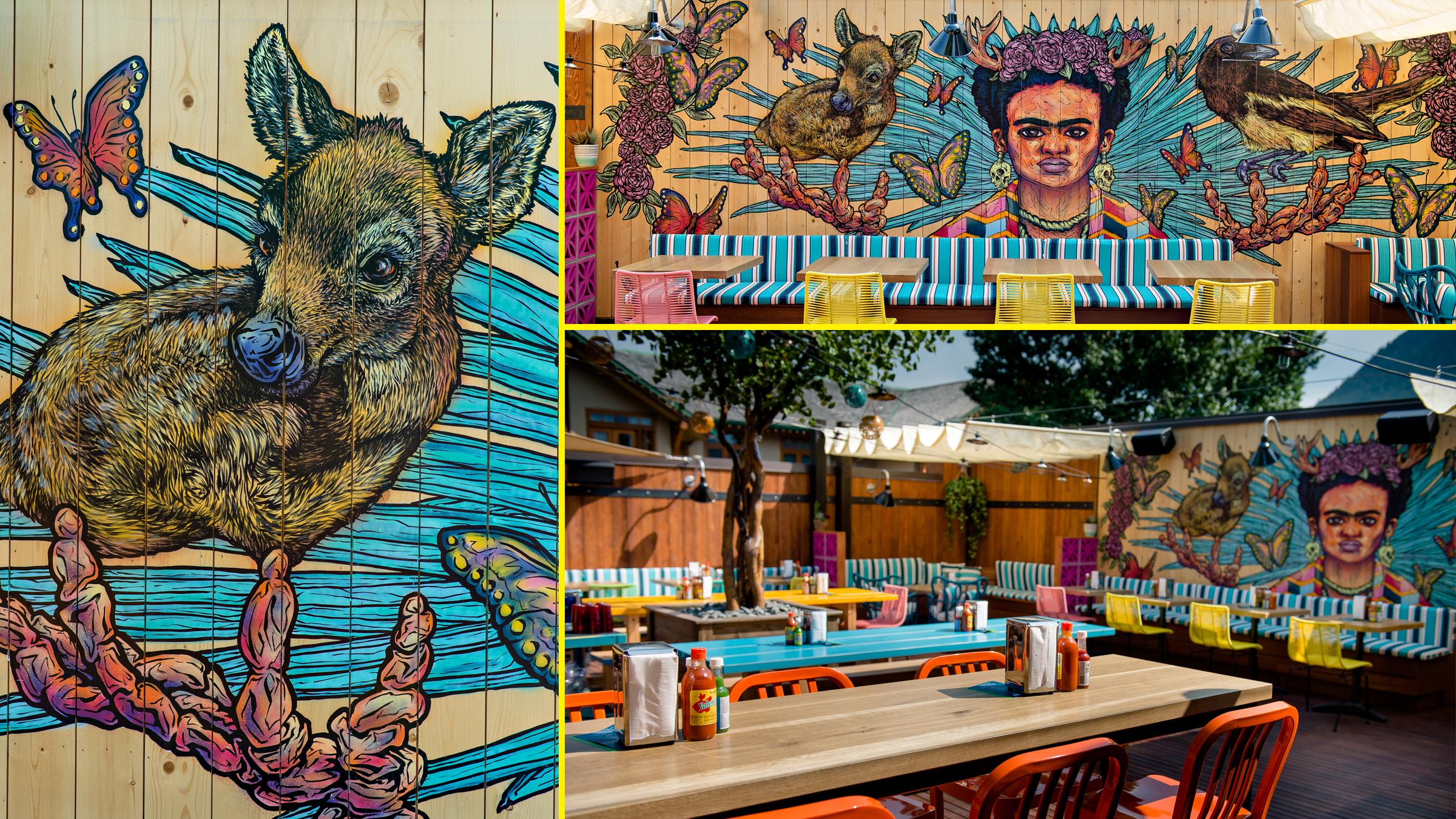 rooftop mural at el patio. banff, canada.