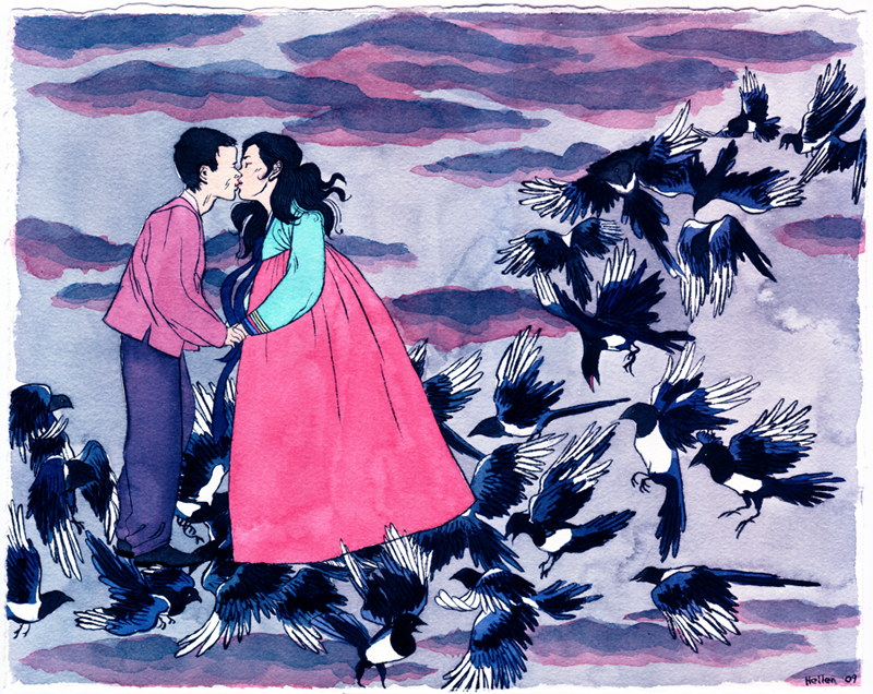 """This is a piece she was commissioned to commemorate a wedding anniversary. One of their wedding photos inspired her to draw the couple as """"Gyeonwu and Jiknyeo, lovers separated by the universe in the Korean folk tale called Chilseok; they were permitted by God to reunite just once each year, on a celestial bridge formed by thousands of magpies and blackbirds.""""  Funnily enough, it was one of the few Korean children's book I had at my disposal when I was a kid. Totally forgot about it and it was great to be reminded of it."""