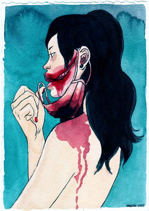 """This one is called """"Red Mask."""" And the story behind it is: """"The Red Mask (bbal gan ma su ku) is a Korean urban legend which finds its origins in 1970s Japan. She wears a blood-soaked surgical mask and she carries a knife. She approaches people to ask, """"Am I pretty?"""" If you say yes, she'll kill you, and if you say no, she'll take off her mask and show you her horrific Glasgow smile, the result of a cosmetic surgery procedure gone terribly wrong. She asks again, """"Am I pretty?"""" If you say yes, she'll cut up your face; if you say no, she'll follow you home and THEN cut up your face, and if you say, """"You look normal,"""" she'll grow confused and wander away."""""""