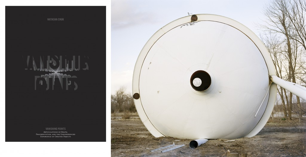 Left: VANISHING POINTS by Natasha Chuk (Intellect, Ltd., 2015); Right: Dina Kantor,   Treece Water Tower 2012