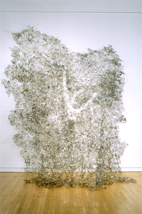 """""""Collisional Ejection from an Atmosphere""""  116"""" x 104"""" x 54"""", Scientific transparencies and papers, wire, glue, burning; 1998"""