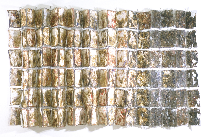 """""""Discussion and Conclusion (Wire Quilt)""""  72"""" x 118"""" x 10""""; Scientific papers, wire, glues, sewing, burning; 1997"""