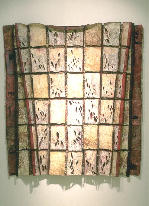 """""""The Rites of Science (ii) Communication (Fax Quilt)""""  74"""" x 62"""" x 6""""; Faxes, gauze, paint, graphite, waxed linen, ironing, sewing, burning; 1993"""