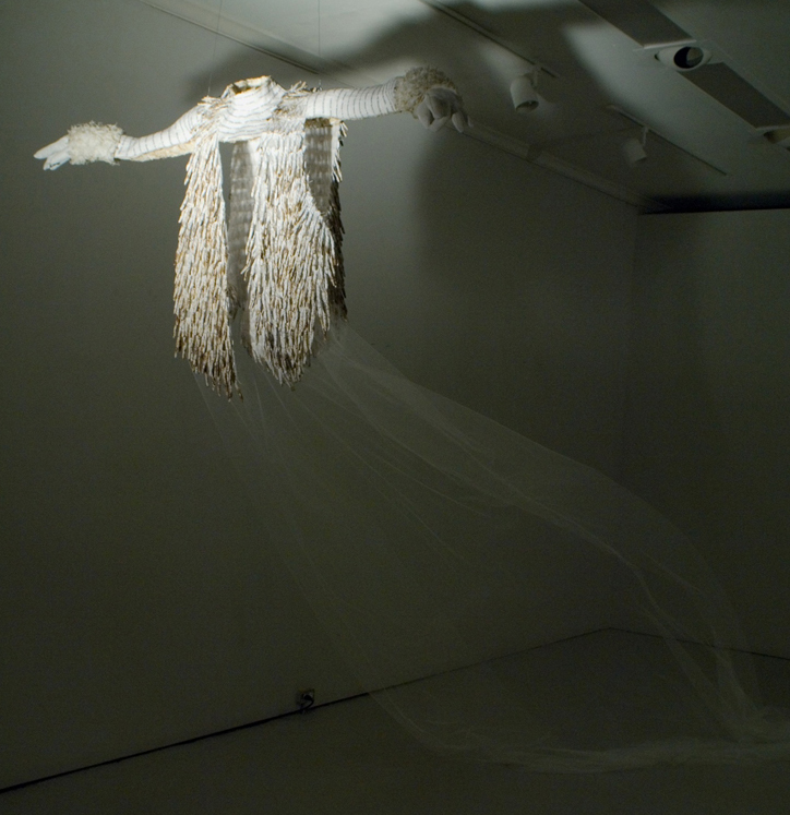"""Mechanism for Cloud Spreading in the DSMC Model I (Vest)""   92"" x 186""; Science papers, polymer mediums, netting, waxed Irish linen thread, fake fur, floor fan; 2013"