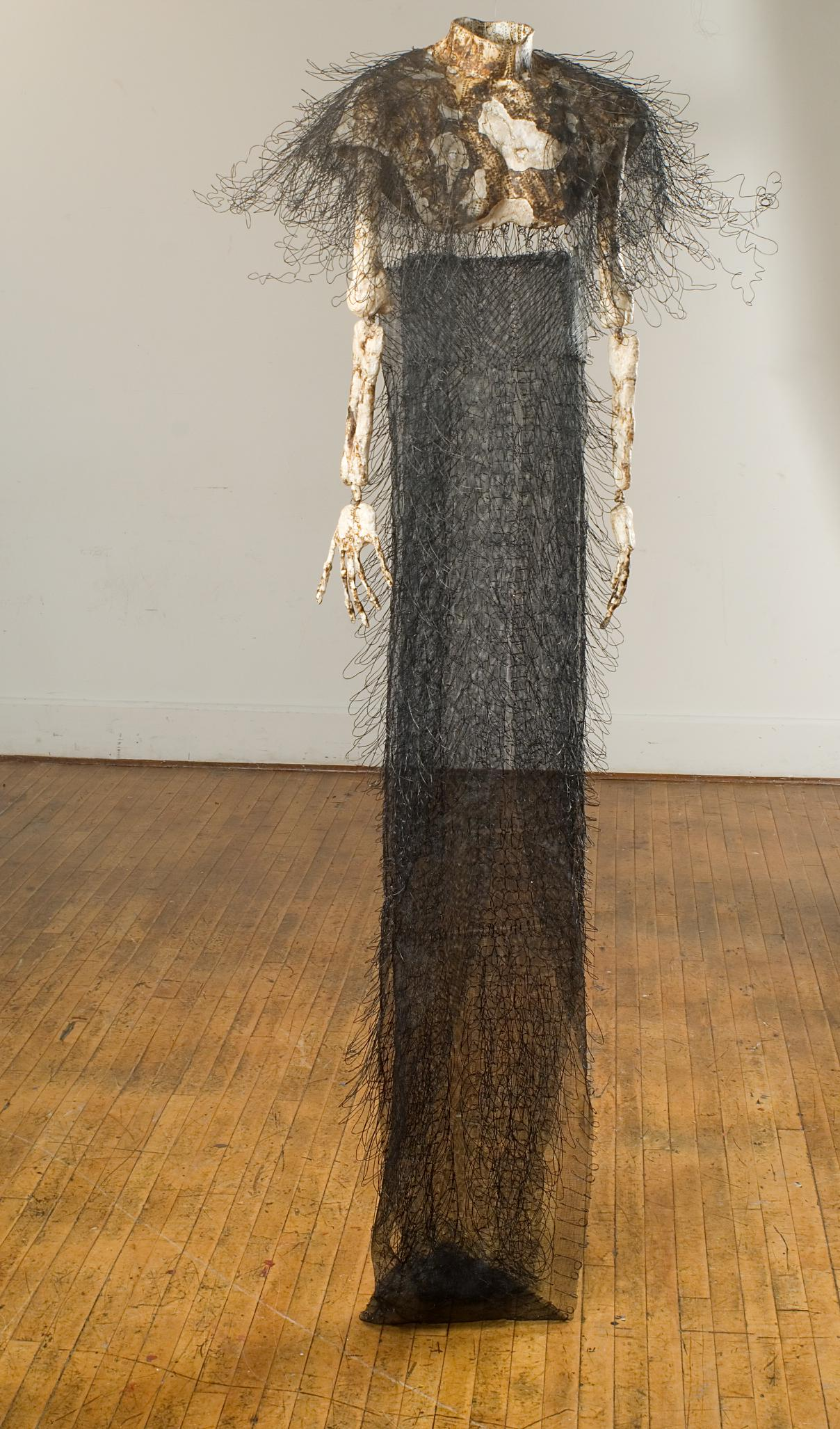 """Europa's Radiation Environment and its Effects on the Surface (Shawl)""   76"" x 40""; Science papers, polymer mediums, wire screening, wires, burning;  2014-16"