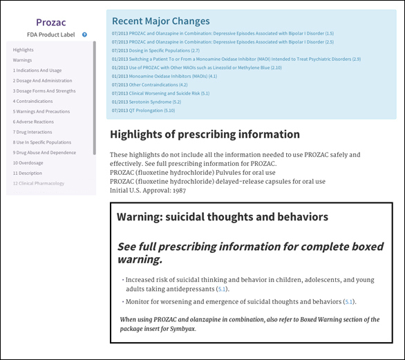 Iodine's easy-to-understand Med Label for Prozac. Click on the image to see it a little bigger.