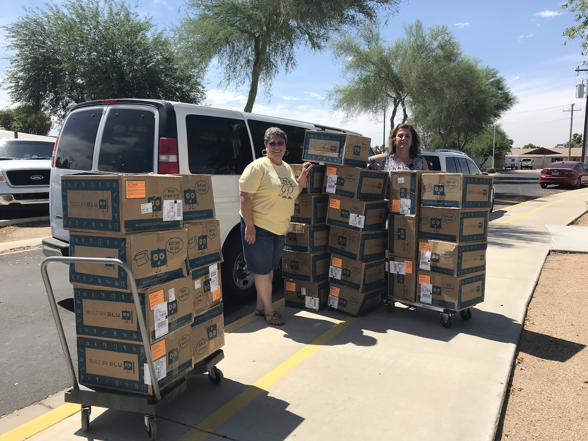 Boxes of backpacks being delievered to the Washington Elementary School District -