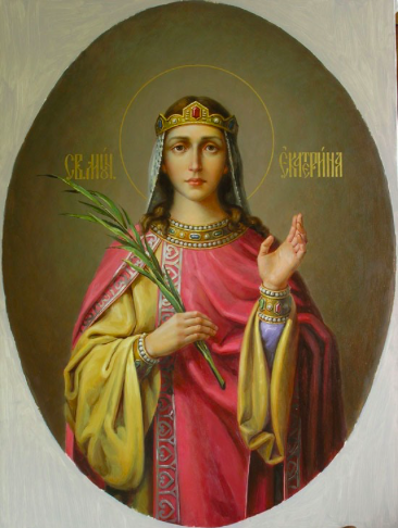 A 19th century Russian Icon of St. Catherine of Alexandria.