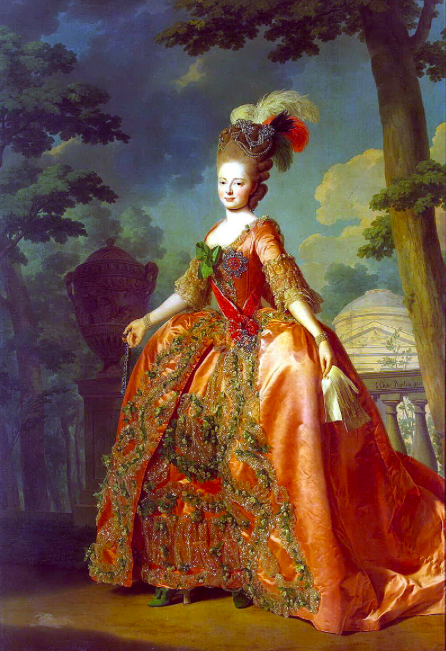 Grand Duchess Maria Feodorovna in the order of st catherine, portrait by Alexandre Roslin, 1777, State Hermitage museum Saint Petersburg.