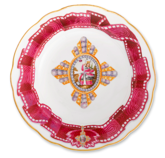 A Russian Porcelain Soup Plate with the Cross and Ribbon of the Order of St. Catherine, Popov Porcelain Manufactory, Gorbunovo, 1811-1860. sotheby's New York, property from the collections of lily & Edmond J. Safra, 18 OCTOBER 2011, lot 21.