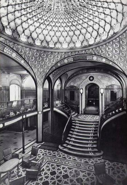 """The late art nouveau grand staircase of the french line's """"Ville de paris"""" 1916."""