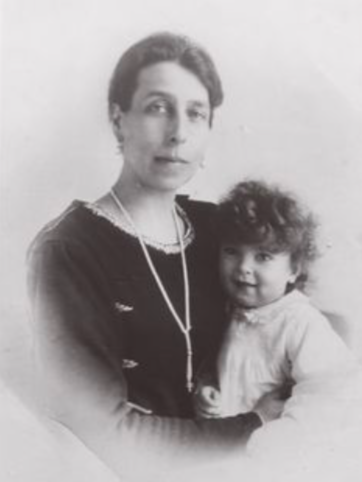 Grand Duchess cyril with her son, Grand Duke Vladimir, ca. 1919.