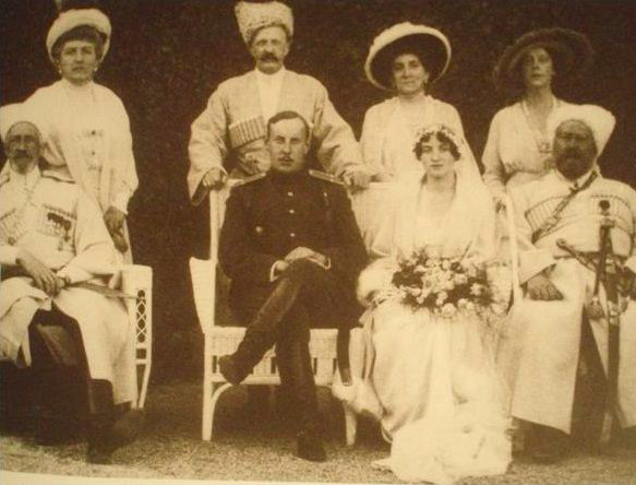 The wedding of HH Princess Nadejda of Russia to Prince Nicholas Orlov, Crimea, 1919. Grand Duke Nicholas Nikolaevich is far left front, and Mr. ISelin's sister-in-law, mother of the groom, Princess Olga Orlova is at far right rear.