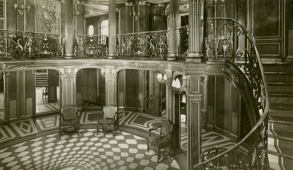 The First Class Grand Foyer and staircase of the SS  France, ca. 1925.