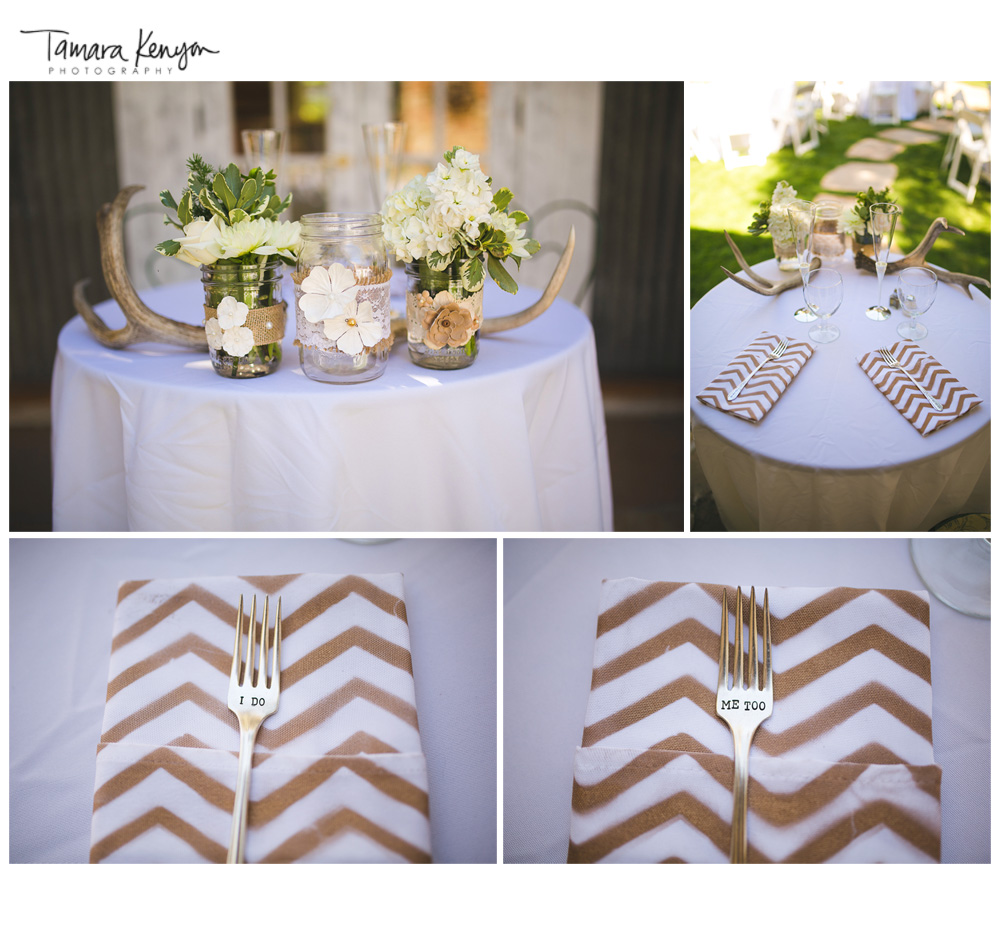 Antler_centerpieces_chevron_napkins_wedding