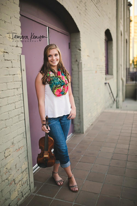 senior photos with a violin