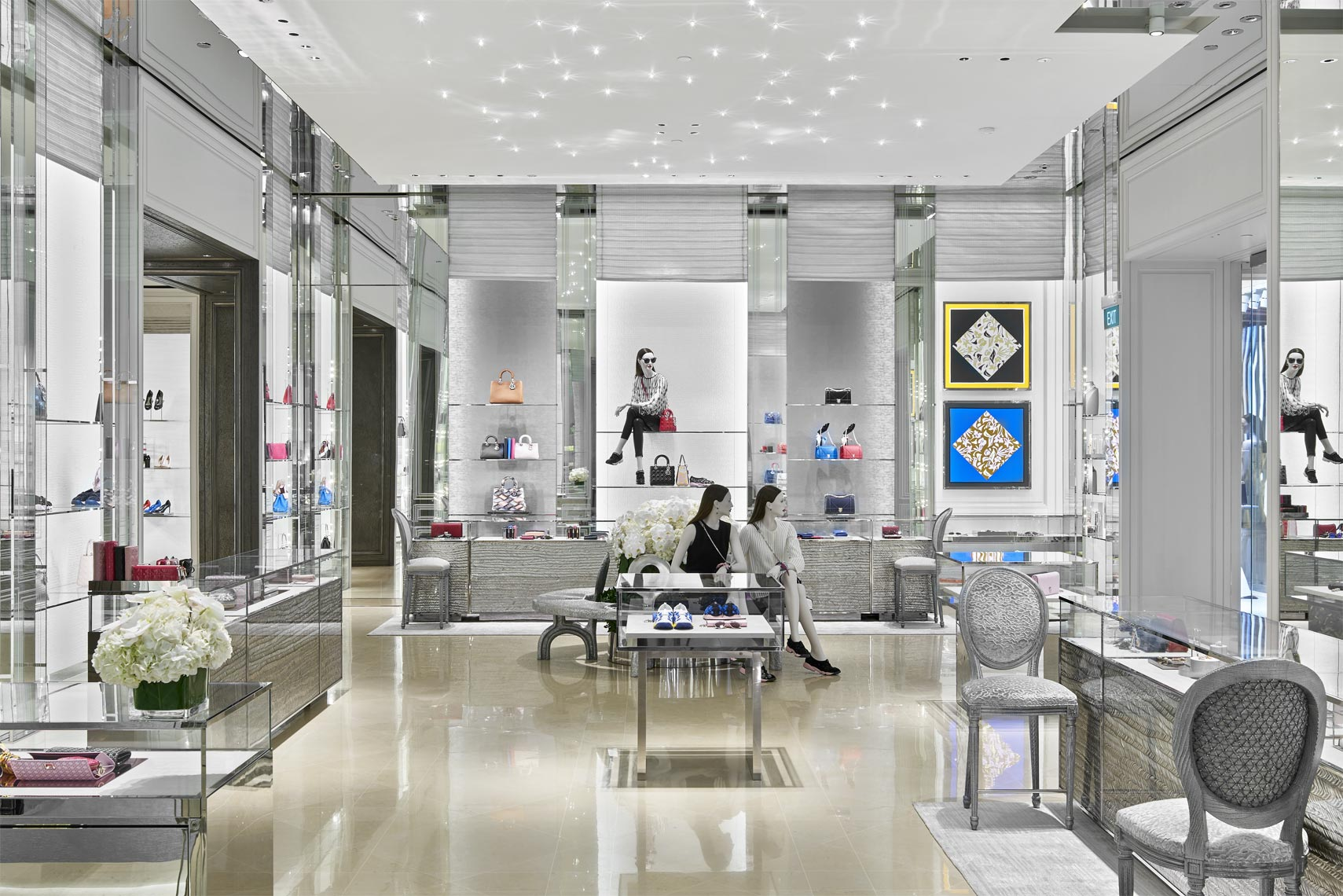 Silver leafed high chairs by Osmundo Studio for Peter Marino Architect for Dior