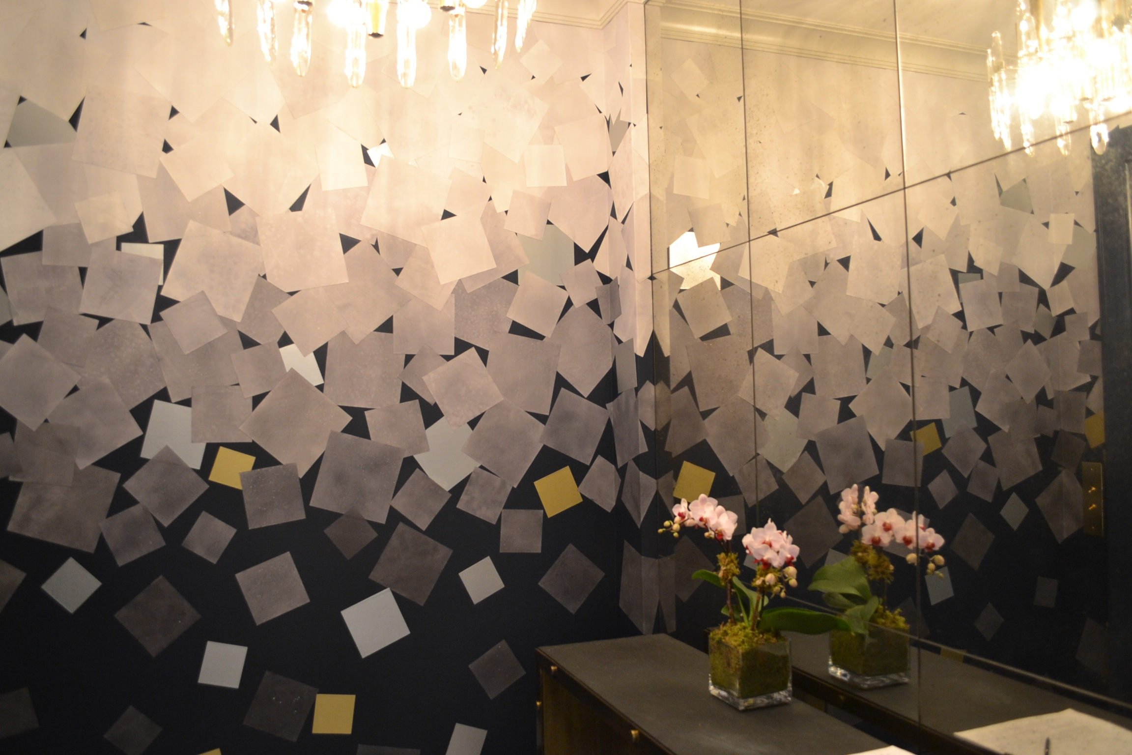 Hand dyed paper wall collage by Osmundo Studio for Lynn Jacobson