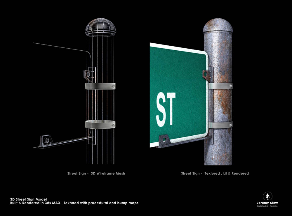 Textured 3D Street Sign and Post
