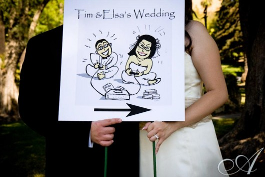 My little caricature of Elsa and Tim, used on their wedding sign posts.