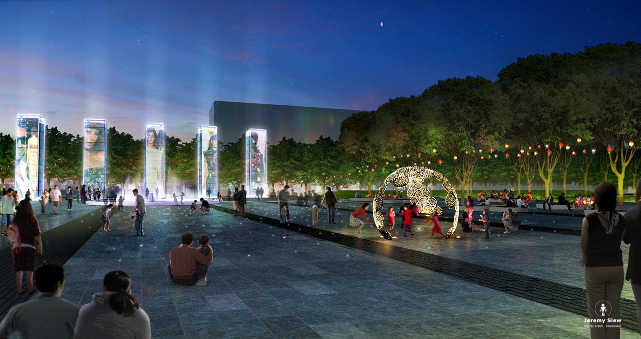 Zhuji Plaza at Night